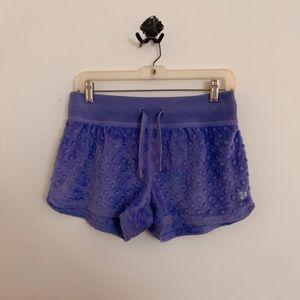 Triple Flip purple minky shorts
